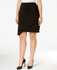 Alfani Prima Skirt Woman Sz 24W Deep Black Asymmetrical Stretch Knit Pencil