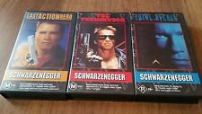 THE TERMINATOR, TOTAL RECALL, LAST ACTION HERO SCHWARZENEGGER X3 VHS VIDEO TAPES