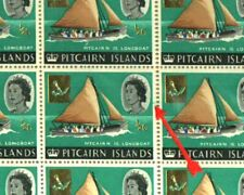 PITCAIRN ISLANDS 1967 ½c OVPT. DOCTOR BLADE FLAW BLOCK OF 9 MNH