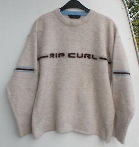 Rip Curl Strickpulli Pullover Wolle Freizeit Größe M retro vintage beige