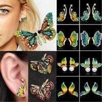Women Charm Full Crystal Rhinestone Pearl Flying Butterfly Stud Earrings Jewelry
