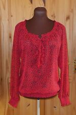 ESPRIT cherry red black spotted polka dot longsleeve chiffon tunic blouse top 10