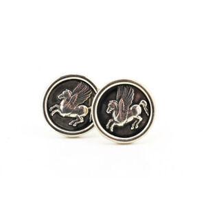 Pegasus Cufflinks 925 Sterling Silver Handmade Greek Jewelry