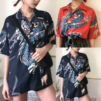 Summer Women Harajuku Blouse Shirt Dragon Printing Loose Short Sleeve Red Unisex
