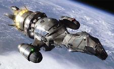 "Firefly 2002 ""Serenity� spaceship in planet orbit full-length color 8x10 scene"
