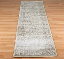 Traditional Fade Cream / Grey-Beige Egyptian Soft Woven Natural Runner 68x235cm