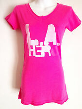 Rockstars & Angels bright  pink V Neck T shirt L.A. hero Size XS   59 Euro usa