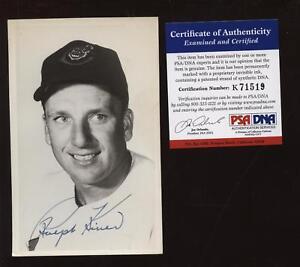 Ralph Kiner Cleveland Indians Auto Photo Postcard PSA