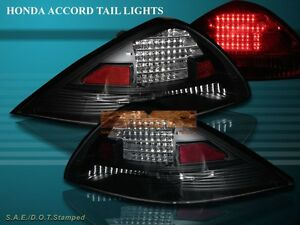 Fit For 2003-05 HONDA ACCORD 2D COUPE JDM BLACK LED TAILLIGHTS