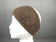 Brown 100% cotton flower crochet ear warmer muff head band wrap knit