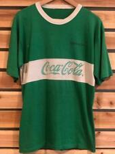Rare VTG 70s/80s Green Stripe Coca Cola Coke Soda Promo SINGLE STITCH T Shirt L
