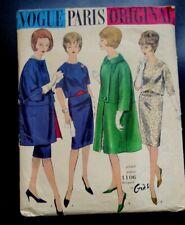 Vintage Vogue Paris Original 1960s GRES Pattern 1106 34 Bust Box Coat Dress Set