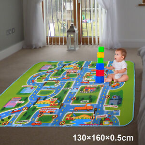 Children's Road Map Kids Play Mat Race Car Rug Runner Nursery Home 130x160cm UK