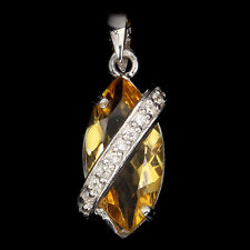 Natural GEM 16x8mm Yellow Citrine ,W.CZ 925 Sterling Silver Pendant Chain FREE
