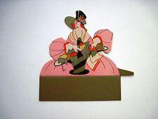 Vintage Art Deco Bridge Tally Place Card w Pretty Woman Holding Basket of Fruit*