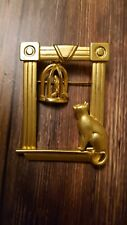 sill with bird in cage Jj Brooch goldtone cat on window
