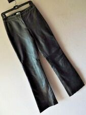 CACHE 4 BLACK 100% LEATHER PANTS Flat Front Straight Leg LINED CONTRAST STITCH S