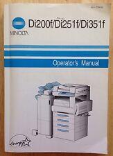 2001 MINOLTA COPIER OPERATOR'S MANUAL BOOK, MINOLTA Di200f, Di251f, Di351f
