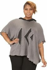 PRISA DESIGNS ARTSY KNITWEAR HOODED PULLOVER PONCHO SWEATER BLACK & GRAY $309