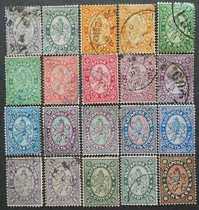 Bulgaria 1882-1886 regular issue, Mi #12-20, 25-27, different paper, used, CV=50