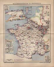 Landkarte map 1904: MILITÄR-DISLOKATION IN FRANKREICH. Algerien Corsica France