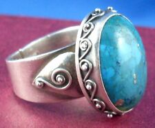 RARE Solid Sterling Silver & Turquoise (Adjust Size 8-10) SCROLL Statement Ring