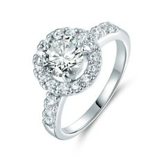 Charm Signet White Sapphire Crystal 18K White Gold Filled Eternity Halo Ring 5-9