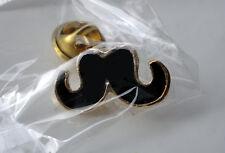 ZP221a Black Moustache Lapel Pin Badge Vintage Style Tash