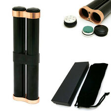 Black Cigar Metal Aluminum Case 2 Tubes Holder Hydrating With Humidifier