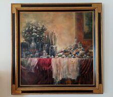 THE PAINTER'S TABLE Oil on Canvas Still Life by Francois D'IZARNY