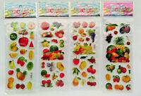 3D Sticker Obst 1-20 Folien Aufkleber Früchte Küche Kinder Marmelade Puffy