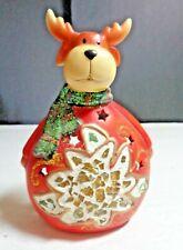 Collectible Ceramic Reindeer Votive Tea Light Candle Holder Holiday Home Decor