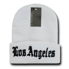 """White & Black Los Angeles LA Embroidery 12"""" Long Cuffed Vintage Beanie Beanies"""