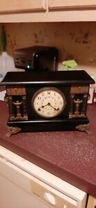 """Antique Sessions 8 Day Porcelain Face Mantel Clock """"Works Great"""""""