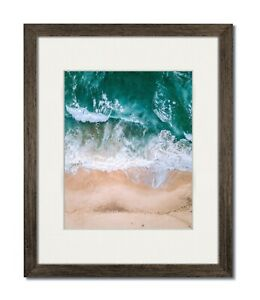 8x10 Walnut Coastal Wood Picture Frame with Single White Mat for 5x7