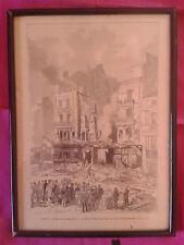 GRAVURE XIXème: L'INCENDIE DE NANTES, RUE DU CALVAIRE en 1883, signée A. EPERE