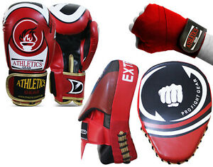 Boxing Gloves Punch Bag Training Boxing Focus Pads Hand Wraps KS