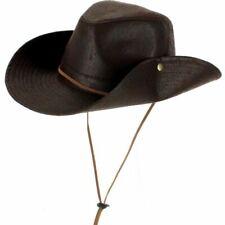 LEATHER EFFECT FEDORA COWBOY HAT WESTERN DISTRESSED VINTAGE LOOK  BROWN