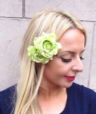 Double Light Green Rose Flower Hair Clip Rockabilly Fascinator Bridesmaid 4212