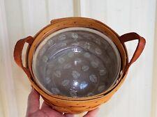 Vtg Longaberger Round Woven Basket 1999 Leaf liner & protector leather handles