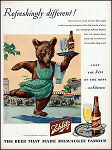 1945 Ice skating brown bear Schlitz Beer glass bottle vintage art Print Ad adL98