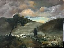 Painting By Stephanie Pezza 1864-1951 Early California Artist Herding Sheep