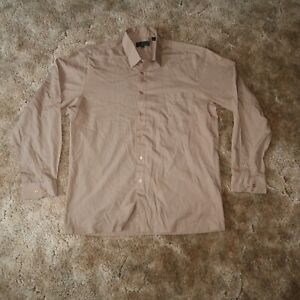 Marquis Mens Large Brown Tan Collared Long Sleeve Button Up Dress Shirt