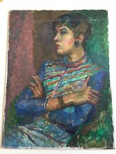 LARGE VINTAGE MID CENTURY FEMALE PORTRAIT PAINTING BLOOMSBURY COLOUR SHABBY CHIC