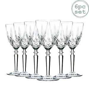 6x RCR Crystal Orchestra Wine Glasses Cut Glass Goblets 290ml Clear