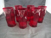 Set of  6 Vintage 1950's Ruby Red Mid Century Bar Tumblers