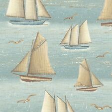 Seaside Blue Fog Sailboats Cotton Fabric Yardage Boston Light 300th Anniv.    B3