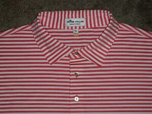 Men's NWOT PETER MILLAR Summer Comfort Polo XL CORAL & WHITE Striped