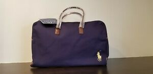 Polo Ralph Lauren Blue Canvas Duffel Weekend Gym Carry-On Travel Bag New Large
