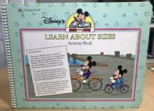 Vintage 1990 Disney Learn w Mickey Mouse About Sizes Activity Book Unused Rare!